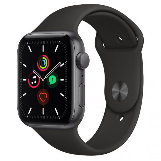 Apple Watch SE 44mm Space Gray Aluminium Case with Black Sport Band MYDT2LL/A
