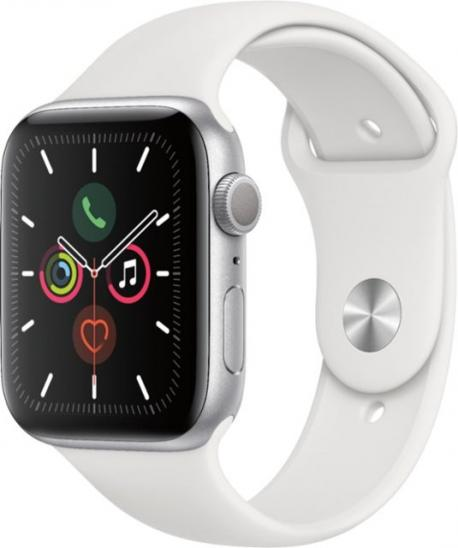 Apple Watch Series 5 (GPS) 44mm Silver Aluminum Case with White Sport Band
