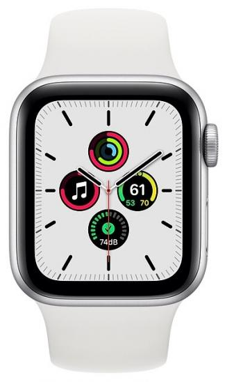 Apple Watch SE 40mm Silver Aluminum Case with White Sport Band